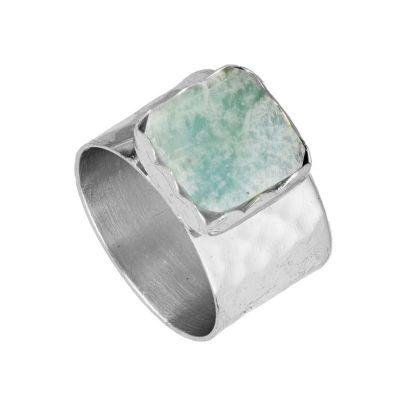 anillo de piedra natural amazonita