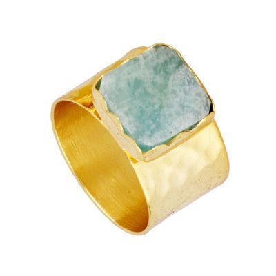 anillo de oro piedra natural amazonita