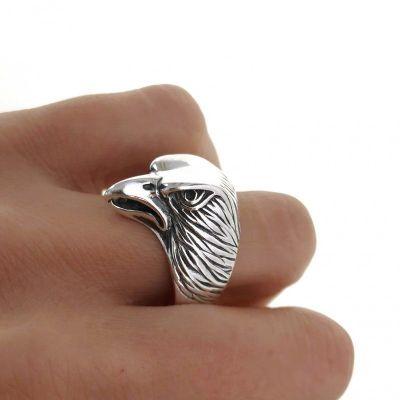 sello de plata caballero cabeza de águila