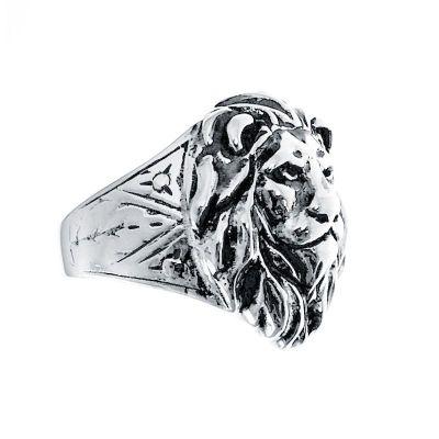 sello de plata caballero cabeza de león