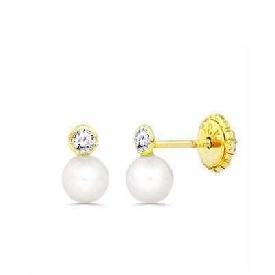 Pendientes de bebe tu y yo perlas Oro Amarillo 18K