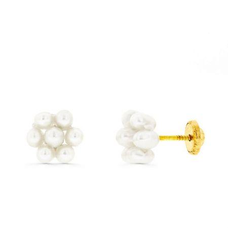 pendientes bebe perlas oro amarillo