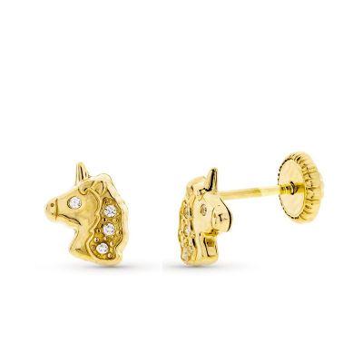Pendientes unicornio circonitas oro amarillo 18K