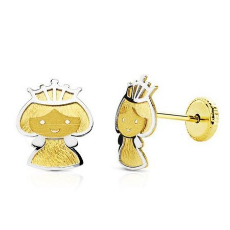 pendientes de niña princesas oro bicolor 18k