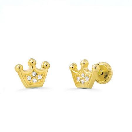 pendientes de bebe coronas oro amarillo 18k