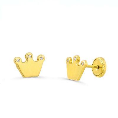Pendientes coronas brillo oro amarillo 18k
