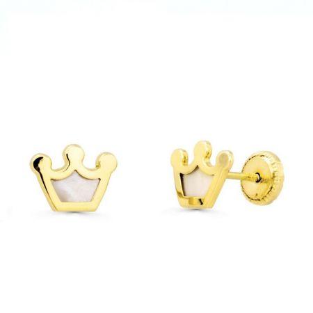 pendientes de bebe coronas nacar oro amarillo 18k