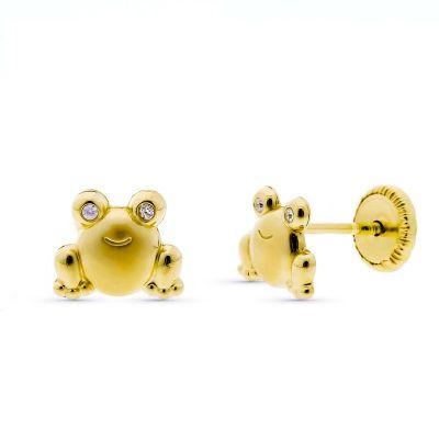 Pendientes rana piedras oro amarillo 18k