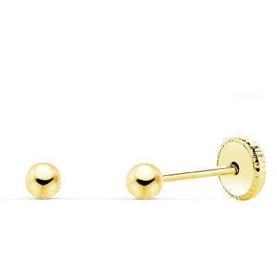 Pendientes Bola Lisa 3 Mm Oro Amarillo 18K