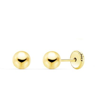 Pendientes Bola Lisa 5 Mm Oro Amarillo 18K