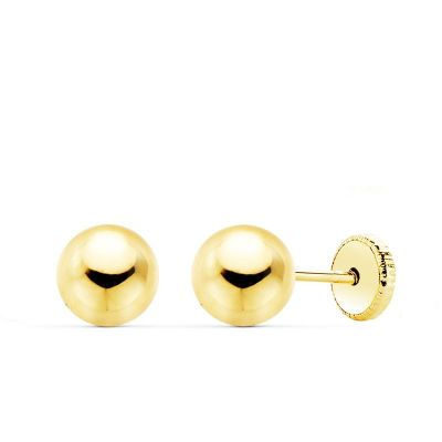 Pendientes Bola Lisa 6 Mm Oro Amarillo 18K