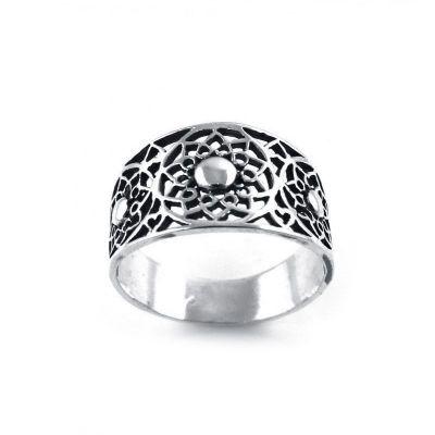 anillo de plata boho atrapasueños