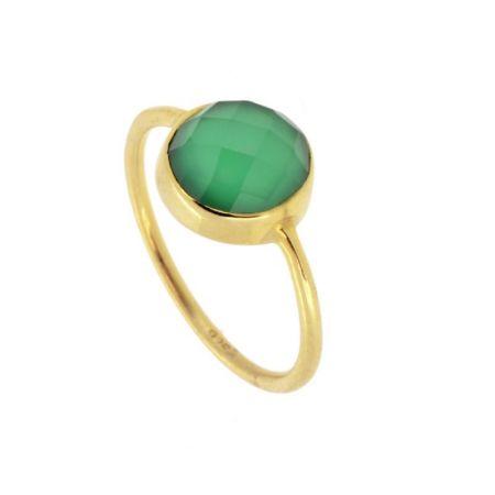 Anillo Calcedonia Verde Oro