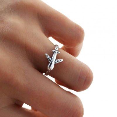 anillo avion de plata