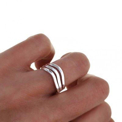 anillo tres bandas plata