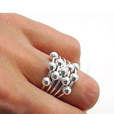 anillo de bolitas plata
