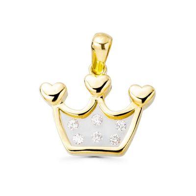colgante corona oro