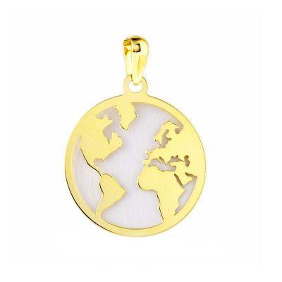 colgante mundo nacar oro amarillo