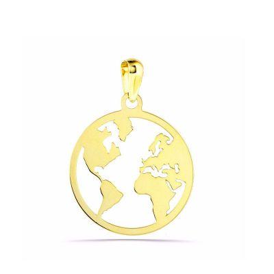 colgante pequeño mundo oro amarillo