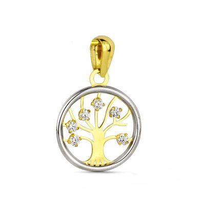 colgante árbol de la vida oro bicolor