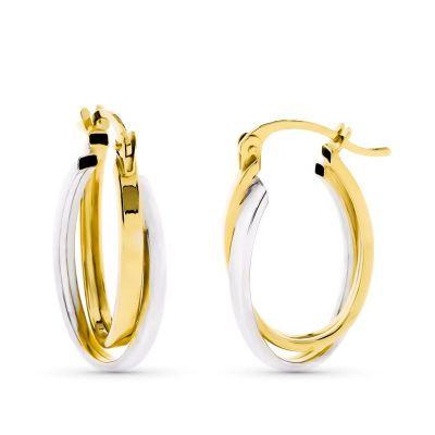 aros oro bicolor ovales