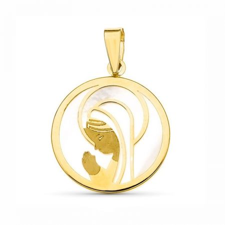 medalla virgen niña nacar oro