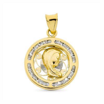 Medalla Virgen Niña Piedras Oro 18 Ktes 16Mm