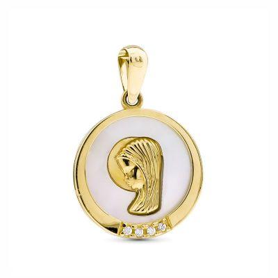 Medalla Comunión Virgen Niña Oro 18 Ktes 14Mm
