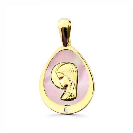 medalla virgen niña nacar rosa oro amarillo 18k