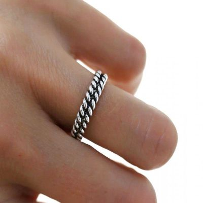 anillo dobre hilo retorcido plata