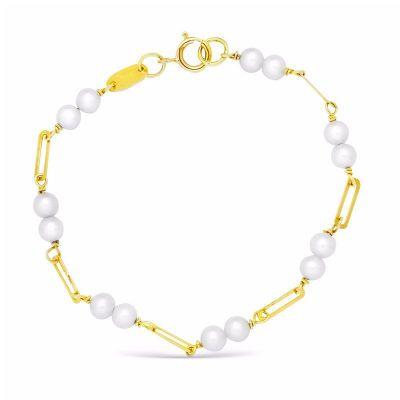 pulsera de bebe oro perlas
