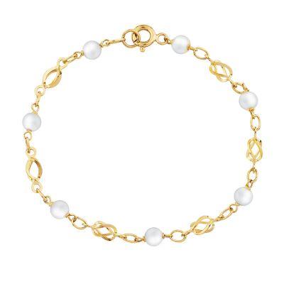 pulsera de oro 18k perlas y corazon