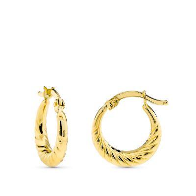 pendientes aro de oro tallados