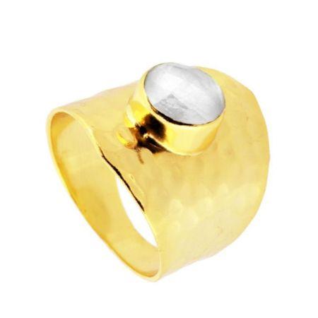 Anillo Piedra Luna Gold