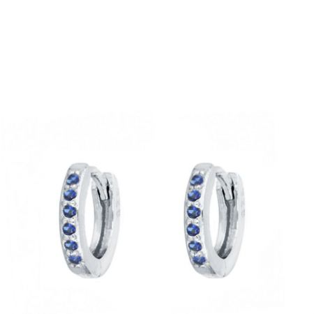 Aros Pequeños Piedras Azules Plata