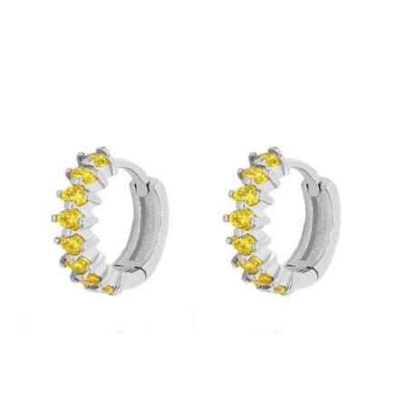 Aros piedras amarillas plata de ley