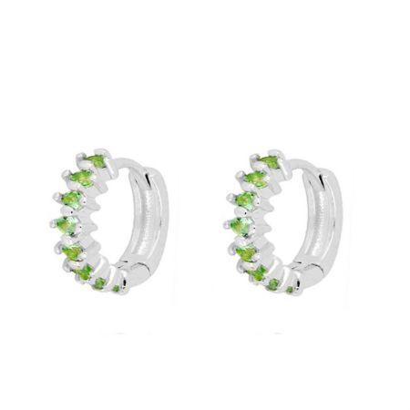 Aros piedras verdes plata de ley