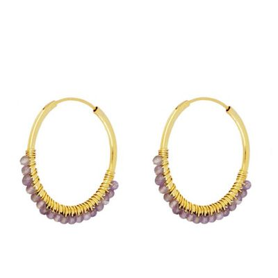Aros Abby Amatistas 25mm Gold