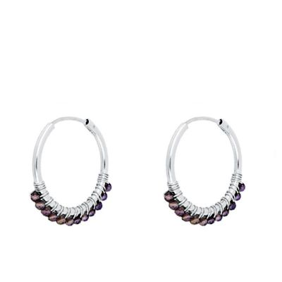 Aros Abby Amatistas 20mm Plata