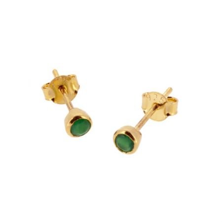 Pendientes Calcedonia Verde Oro