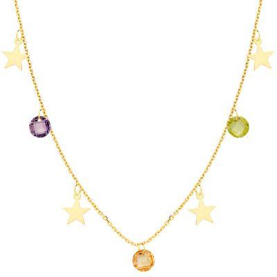 Collar Estrellas y Piedras Oro Amarillo 18 Ktes