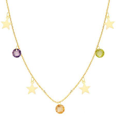 Collar de Mujer Estrellas Oro Amarillo 18 Ktes