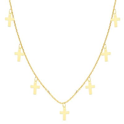 Collar Cruces Oro Amarillo 18 Ktes