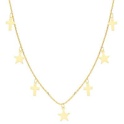 Collar Cruces y Estrellas Oro Amarillo 18 Ktes