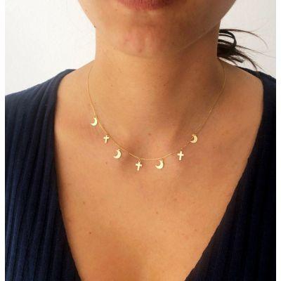 Collar de Mujer Cruces Oro Amarillo 18 Ktes